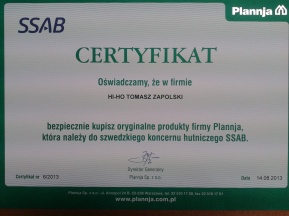Certyfikat Plannja Zdjęcie-0006