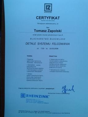 Certyfikat Rheizink