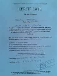 Replace asbestos certificate